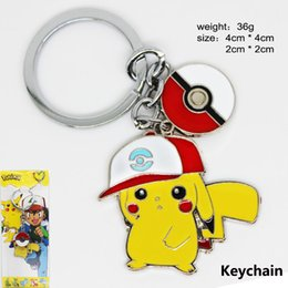 Wholesale Key Ring Links - New 2016 Poke Pikachu Necklace Action Cartoon Figure Ball Pendant Necklace Keychain Key Rings Pocket Monster XMAS Gifts WX-N07