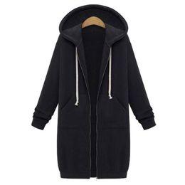 Wholesale Hoody Plus Size Women - 2017 Autumn Plus Size Womens Cardigan Long Hoodies Sweatshirt Hoody Coat Pockets Zip Up Outerwear Hoodies Clothes For Women Oversized Tops