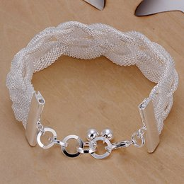 Wholesale Bead Netting Bracelet - Classic silver net simple elegant braided charm bracelet suit women and men with jewelry pearl clasp beads bracelet