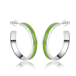 Wholesale Earring Paint - Green Enamel Painting Women's Hoop Earrings Medium Size in 925 Sterling Silver