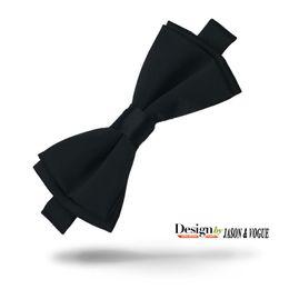 Wholesale silk tie gift box - Bow Tie Solid Black Silk Men's Tuxedo Wedding Party Adjustable Silk Bow Tie Gift Box F-002