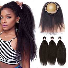 Wholesale Coarse Yaki Hair - Mongolian 9A Kinky Straight Hair Bundles With Ear To Ear 360 Lace Band Frontal Coarse Yaki 360 Lace Frontal With Hair Extensions