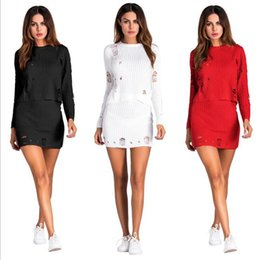 Wholesale knit skirt suit - Hole Sweater Dress Sets Women Autumn Knitted Cocktail Suit Set Skirt Evening Dress Hollow Out Long Sleeve Tops OOA3101