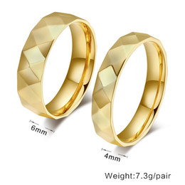 Wholesale Ring Wedding Pair Gold - Diamond section 18k gold plated couple rings,6mm 4mm for a pair rings for engagement wedding love rings