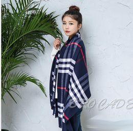 Wholesale Scarfs Fashion Style - Brand designer cashmere scarf pashmina shawl Fashion winter warm luxury brand plaid style cashmere long scarves shawls for women and men