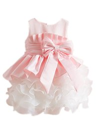 Wholesale Cheap Summer Clothes Kids - Pink Baby Girls Vest Wedding Dresses Style Clothes Tutu Cheap Childrens Princess Dresses for Kids Clothing Summer Birthday Party Dress