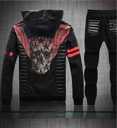 Wholesale New Item Cotton - Wholesale-2016 New items Hot sale coat men cotton hoodies,fashion Black Rhinestone skull Autumn men's tracksuits sport suits, Hoodies