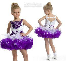 Wholesale Girl S Gown Ivory - New Arrival Purple Little Girls s Pageant Dresses Cupcake Dresses Spaghetti Crystal Beads Rhinestone Mini Short Flower Girl Dresses PT1461