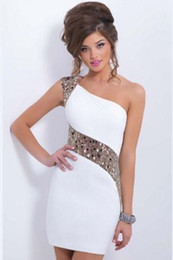 Wholesale White Club Dresses For Women - Chic club dresses one shoulder sequins panelled backless bodycon dress white M-XL party dresses for women European style