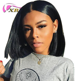 Wholesale Medium Hair Bob - xblhair new bob wig virgin human hair middle part 10 inch silky straight front lace wig