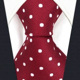 Wholesale Mens Extra Long Neckties - S15 Dots Red Crimson White Mens Ties Neckties 100% Silk Extra Long Size Jacquard Woven Fashion New