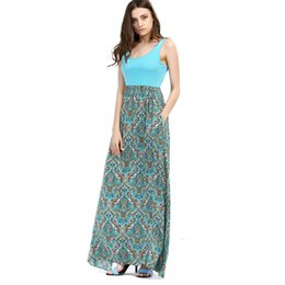 Wholesale Cheap Spandex Maxi Dresses - 2016 Summer Suit-dress New Product Chiffon Dress Sleeveless Printing Longuette Bodycon Cheap Dresses Woman for Womens Clothing Ladies