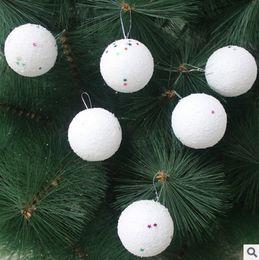 Wholesale Snowball Christmas Tree Ornaments - High Quality 4cm fashion foam Christmas Snowball Balls Party Ornaments Xmas Tree Hanging Decoration 6pcs lot