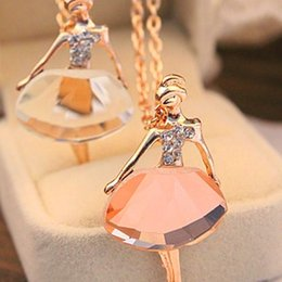 Wholesale Ballet Girls Charms - Statement Necklaces Fashion Sweet Charming Full Of Crystal Necklaces Female Ballet Girl Pendants Long Sweater Chain Necklaces