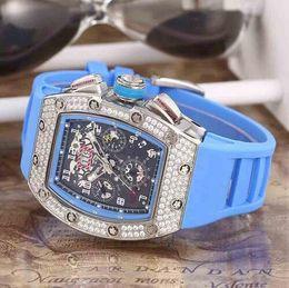 2019 женщины смотрят прозрачно Роскошный Швейцарский Бренд RM011 Diamond Нержавеющая Дата Прозрачные Мужские Механические Часы Felipe Massa Flyback Резина Мужчины Автоматические Наручные Часы женщины дешево женщины смотрят прозрачно
