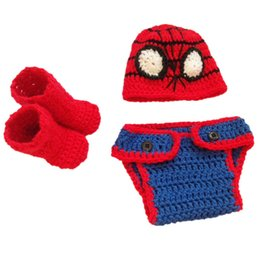 Wholesale Baby Spiderman Costumes - Super Cool Crochet Baby Spiderman Costume,Handmade Knit Baby Boy Girl Super Hero Hat Diaper Cover Booties Outfit,Infant Toddler Photo Prop