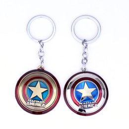 Wholesale Metal Cross Key Chain - Marvel Comics Super Hero Captain America Avengers KeyRings Keychains Holder Purse Bag Buckle Accessories Gift Key Chains