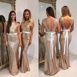 Wholesale Modest Bateau Bridesmaid Gown - Modest 2017 Champagne Sequined Custom Made Mermaid Bridesmaid Dresses With Ivory Beaded Sash Sexy Backless Long Wedding Party Gown EN9255