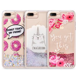 Wholesale Cat Bling Iphone Cases - Liquid Glitter Case for iPhone 8 7 6S 6 iPhone7 Plus Sparkly Bling Waterfall Quicksand Cute Cat Water i7 7Plus Cover LUXMO