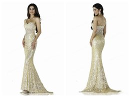 Wholesale Mermaid Prom Dresses Beauty - 2016 New Shoulder Lace Sequins Mermaid Prom Dresses Long Trailing Lace Applique Crystal Beaded Evening Gowns Sexy Beauty Dress Plus Size