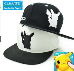 Wholesale Japanese Unisex Cap Hat - Japanese Famous Animation Cartoon Comic Cute Lovely Poke GO Pocket Monster Pikachu Flat Snapback Caps Hat for Adult Men Women