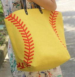 Wholesale white cotton material wholesale - wholesale 1pcs Baseball Tote Bags Sports Bags Casual Tote Softball Bag Football Soccer Basketball Bag Cotton Canvas Material