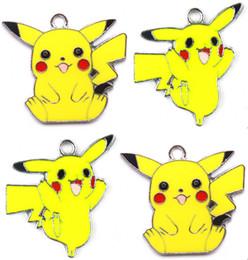 Wholesale Pikachu Jewelry - Mixed 50 Pcs Classic Cartoon Yellow Pocket Monsters Pikachu Metal Charm Pendants Jewelry Making Toy