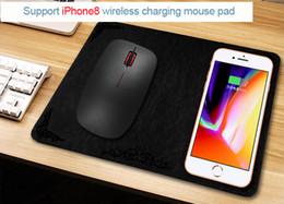 Wholesale Iphone Wireless Mouse - Qi Wireless Charger Mouse Pad 2 in 1 Function 0.5 cm Ultra-thin Micro USB Quick Chargers for iPhone8 iPhone X Smart Phone