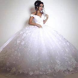 Wholesale White Princess 3d - African Ball Gown Wedding Dresses Vintage V Neck Cap Sleeves 3D Appliques Wedding Gowns Tulle Arabic Dubai African Bridal Dress