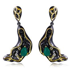 Wholesale Emerald Green Dangle Earrings - Classic Crystal Dangle earrings Water Drop Green zircon Jewelry In Black earrings for women