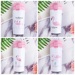 Wholesale Stainless Steel Bottle Print - 4 Colors 300ml Flamingo Printed Tumbler Cup Vacuum Insulated Cup Stainless Steel Mug Portable Business Water Bottle CCA7300 10pcs