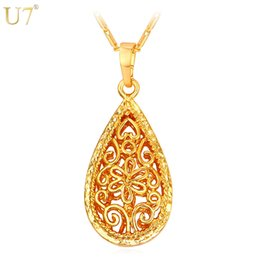 Wholesale Unique Red Necklaces - unique New Waterdrop Pendant Women Fashion Jewelry Wholesale 18K Real Gold Plated Vintage Hollow Flower Necklace Brand Jewelry P834