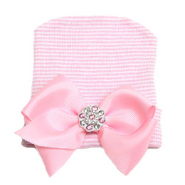 Wholesale Pink Newborn Hats - Newborn Baby Girls Nursery Beanie Hospital Hat with Ribbon Bow Toddler Kid Cotton Pink Cap Infant Unisex Hair Accessories Photography Props