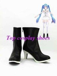 Wholesale Hatsune Miku Shoes - Wholesale-Freeshipping Vocaloid Hatsune Miku Black Hight Heel Cosplay Boots shoes custom-made for Halloween Christmas festival