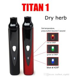 Wholesale Electronic Cigarettes Lcd - Hebe Titan 2 Vape herbal vaporizer titan 1 ecig starter kit 2200mah LCD Display changeable Tempreture Electronic cigarette vape pen