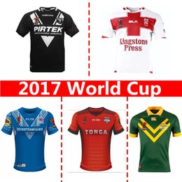 Wholesale England Rugby Xxl - Newest 2017 World Cup NRL Jersey England rugby shirt New Zealand kiwi tonga rugby Jerseys SAMOA kiwis Australia shirts
