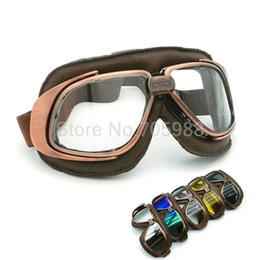 Wholesale Motorcycle Helmet Black Leather - Unisex clear lens motorcycle HELMET Goggles Open face off road Goggles