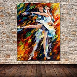 2019 paleta de paleta figuras de pintura abstrata Pintados À mão Dançarinos de Bailado Faca de Paleta Pintura A Óleo sobre Tela Moderna Abstrata Figuras Pintura Casa Decoração Da Arte Da Parede paleta de paleta figuras de pintura abstrata barato