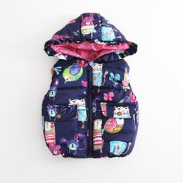 Wholesale Hood Lining - New Winter Kids Waistcoat Girls Boys Sleeve-less Jacket Girls Warm Waistcoat Graffiti Cardigan 4 p l