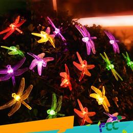 Luz solar do jardim libélula solar on-line-Luzes de fadas de natal solar led libélula luzes da corda à prova d 'água decoração ao ar livre iluminação para jardim cerca da árvore 20 LEDs