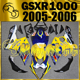 Wholesale Suzuki K5 Corona - Five Gifts Motoegg Bestselling Injection Mold Fairings For Suzuki GSXR1000 K5 2005-2006 GSX-R1000 05 06 Bodywork Corona Yellow Blue S15M01