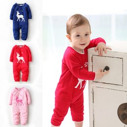 Wholesale Baby Boy Overalls 18 Month - (0-18 months) Infant Cotton Romper elks, Fine Knit Warm Romper free for Baby Jumpsuit Cottom Knit Baby Overalls newborn boy free shipping