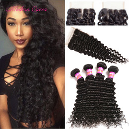 Wholesale Hair Wefts Bulk - Indian Deep Curly Lace Closure And 4 Bundles Hair Wefts Raw Indian Human Hair Bundle With Closure Indian Curly Hair Bulk Weave Extension