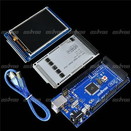 """Wholesale Arduino Cables - Wholesale-3.2"""" TFT LCD Touch + TFT 3.2 Inch Shield Mega Shield + Mega2560 R3 with Usb Cable For Arduino kit"""