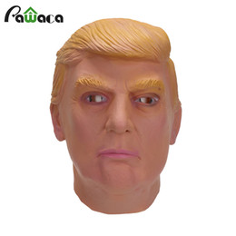 Wholesale Celebrities Carnival Masks - Donald Trump Costume Mask Celebrity Cosplay Full Face Halloween Party Masquerade Carnival Mask Latex Ornament Real Simulate Mask