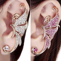 Wholesale Wing Earring Cuff - Wholesale-Best Quality Shiny Butterfly Wings Shape Left Ear Cuff Womens Clip Clamp Earrings 1pc 5TU6 6SC7
