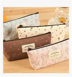 Wholesale Pen Case Make - Wholesale cotton Mini Retro Flower Floral Lace Pencil Shape Pen Case Cosmetic Case Makeup Make Up Bag Zipper Pouch Purse