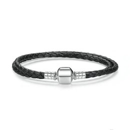 Wholesale Braided Chain Sterling - Authentic 925 Sterling Silver Black Braided Double-Leather Charm Bracelet Fit DIY Rad iant Hearts Charm Beads Jewelry