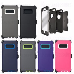 Wholesale Galaxy Note Belt Clip Holsters - Hot Hybrid defender robot 3 in 1 rugged armor silicone case for Iphone x 10 8 7 6s plus holster belt clip for Samsung Galaxy Note 8 S6 S7 S8