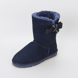 Wholesale Knitted Calf Boots - 2016 new fashion women Hand knitting bowknot in the tube boots real leather snow boots The factory price wholesale and frss shipping